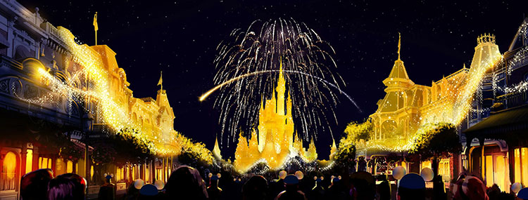 Vuurwerkshow Disney Enchantment in Magic Kingdom voor 50e verjaardag Walt Disney World