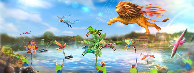 Disney KiteTails show in Walt Disney World met vliegers, performers en jetski's