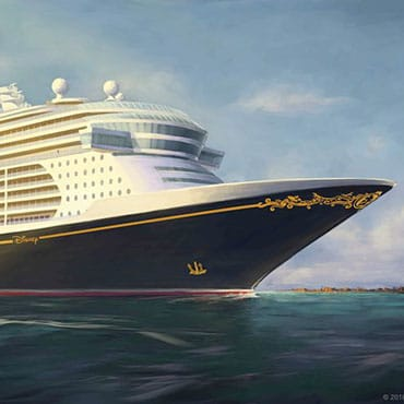 Nieuw Disney Wish cruiseschip en Lighthouse Point privé-eiland van Disney Cruise Line