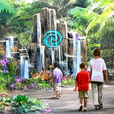 Moana's Journey of Water attractie in Walt Disney World met 'walk through' door Epcot