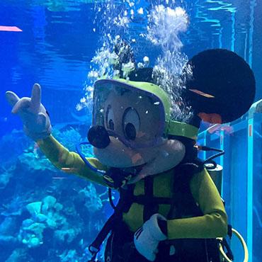 Ontmoet Mickey Mouse onderwater in zijn duikerspak bij The Seas in Walt Disney World